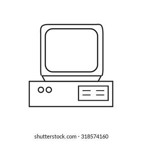 Retro computer icon in contour