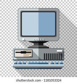 Retro computer icon with keyboard and CRT monitor in flat style with long shadow on transparent background
