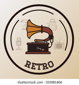 Retro concept with technology icons design, vector illustration 10 eps graphic.