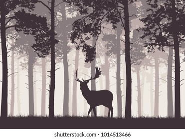 A retro coniferous forest with a silhouette of a fallow deer - vector