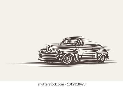 Retro convertible car hand drawn. Vector, eps10.