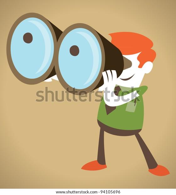 Retro Corporate Guy with his huge binoculars.