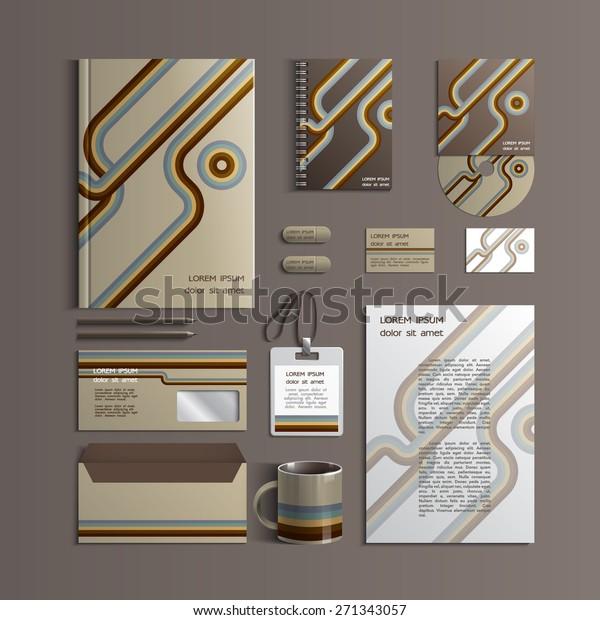 Retro Corporate Identity Template Liner Elements Stock