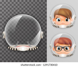 Retro cosmonaut helmet realistic astronaut 3d spaceman boy girl tantamareska transparent class design vector illustration