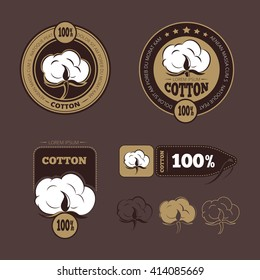 Retro cotton icons, labels. Production guarantee badge or logo. Vector illustration