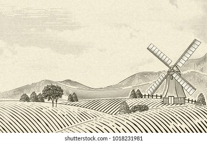 Retro countryside scenery, field and windmill elements in etching shading style on beige background
