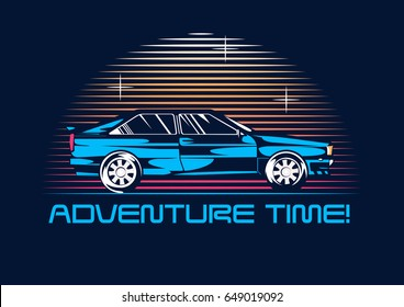 Retro coupe car from 1980 at night. 80s poster stylization. Vector illustration