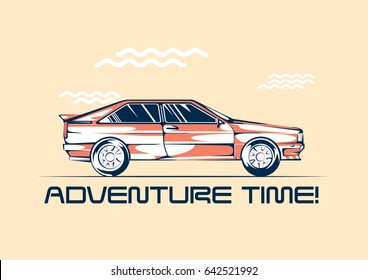 Retro coupe car from 1980 ready for a traveling. Summer fun trip concept. Vector illustration