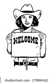 Retro cowgirl holding a welcome sign