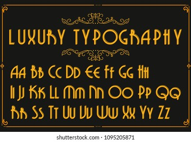 Retro creative font. Creative template in style of 1920s for your design. Letters, Numbers in Vector . EPS 10