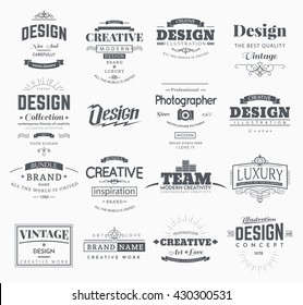 Retro Creative Vintage labels template and Logo set. Vector design elements business signs, branding, badges, objects, identity, labels.