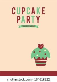 retro cupcake party invitation card