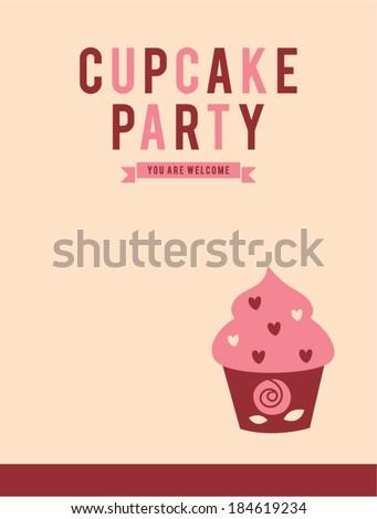 retro cupcake party invitation card stock vector royalty free