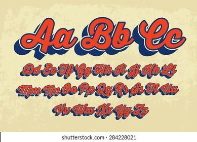 retro cursive typography vector