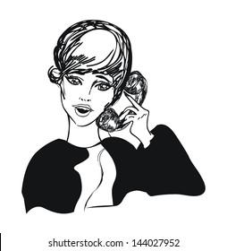Retro cute girl woman on phone - art vintage illustration