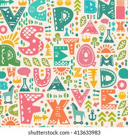 Retro cute seamless pattern with decorative alphabet letters and other design elements. Vector childish background.