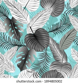 Retro Cyan Black and White Tropical Leaves Seamless Pattern. Editable vectors. Use for textile, background, products, fashion, packaging, and other purposes.