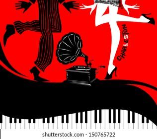 Retro Dancers On A Vinyl Record - Retro illustration