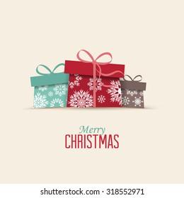 Retro decorative Christmas presents, Vector Christmas card