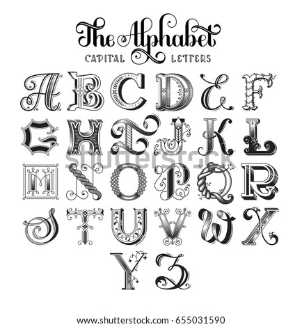 Retro decorative font original highdetailed alphabet stock vector royalty free 655031590 - Lettre alphabet original ...