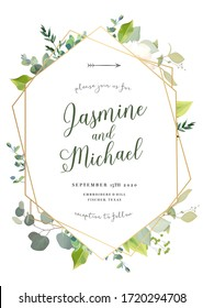 Retro delicate vector design flower card. Eucalyptus, spring greenery, sage, berry, plants.Wedding floral invitation background. Geometric golden art. Watercolor vintage frame. Isolated and editable