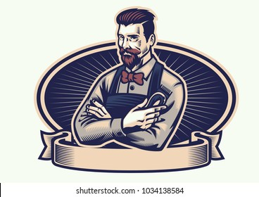 retro design of barberman holding the clippers