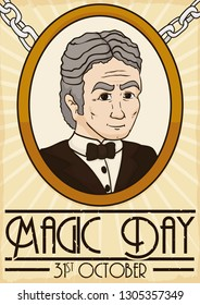 Retro design with a commemorative brooch with Harry Houdini picture to commemorate his decease date and spectacular legacy during Magic Day in October 31.