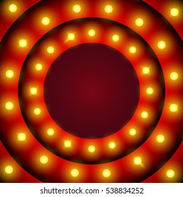 Retro design element circle signboard glowing with lamps for advertisement vector illustration