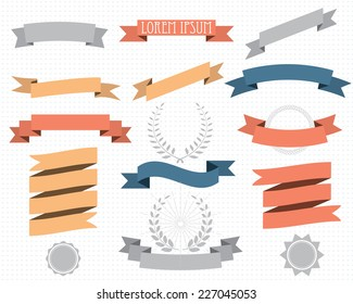 retro design elements with ribbons, labels and wreaths. vector set. eps 8