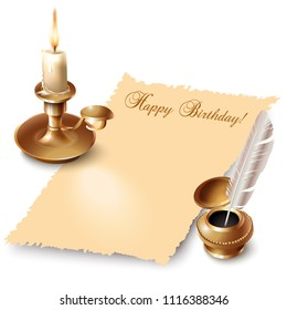 Retro design elements. Sheet of paper with Happy Birthday wording, candle and inkwell with feather on white background. Vector illustration