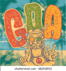 Retro design Goa with old hippie smokes marijuana and shows the peace symbol and hand-written fonts. vector illustration.