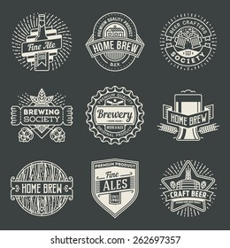 Retro design insignias line art logotypes home brewery set 2. Vector high quality vintage elements.