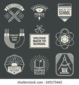 Retro design insignias logotypes school and science set. Vector vintage elements.
