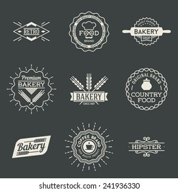Retro design insignias logotypes set 2. Vector vintage elements.