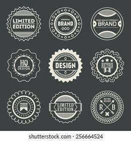 Retro design insignias logotypes set 17. Vector vintage elements.