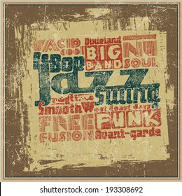 "Retro design ""Jazz music"". typography vector illustration. grunge effect in separate layer."