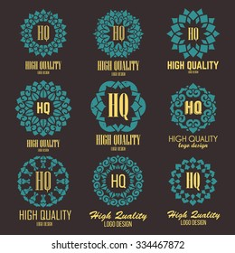 Retro Design Luxury Insignias Logotypes Template Set. Line Art Vector Vintage Style Victorian Swash Elements. Elegant Geometric Shiny Floral Frames.
