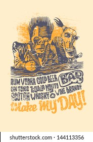 Retro design Make May Day! for bar poster or t-shirt print with two drunkards, hand-written fonts and textures. vector illustration. grunge effect in separate layer.