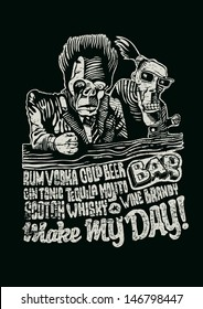 Retro design Make May Day! for bar poster or t-shirt print with two drunkards, and hand-written fonts. vector illustration. grunge effect in separate layer.