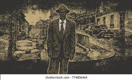 Retro Design With Man In A Hat And Suit And Old City Street Scenery Landscape Noir Style. aspect ratio 16:9. vector illustration