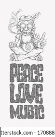 Retro design of Peace, Love and Music with old hippie smokes marijuana and shows the peace symbol and hand-written fonts. vector illustration.