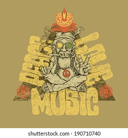 Retro design of Peace, Love and Music  for poster or t-shirt print with old hippie smokes marijuana and shows the peace symbol and hand-written fonts. vector illustration.