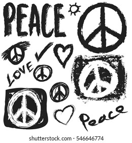 Retro design of Peace, Love and Music, vector design element