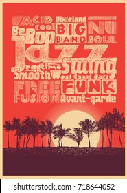 Retro design poster Jazz Music Beach Party with silhouette palms and sunset and jazz typography. vector illustration.