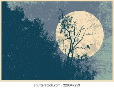 Retro design poster with silhouette dry tree, two crows and full moon. vector illustration