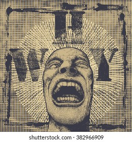 "Retro design poster ""Why"" with screaming head and textures. vector illustration."
