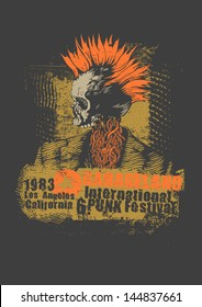 Retro design Punk festival for t-shirt print, with punk skull, grunge fonts and textures. vector illustration.
