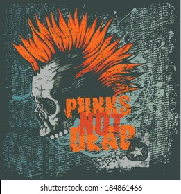 Retro design Punk Not Dead for poster or t-shirt print with punk skull, grunge fonts and textures. vector illustration. grunge effect in separate layer.