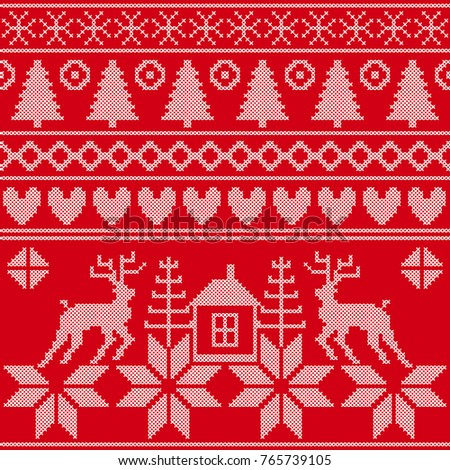 Retro Design Set Traditional Scandinavian Christmas Stock Vector
