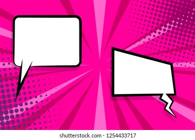 Retro design template. Isolated vector colored illustration. Comic text dialog box cloud. Speech bubble tag. Vector template, blank. Information message. Empty white background. Outline style.